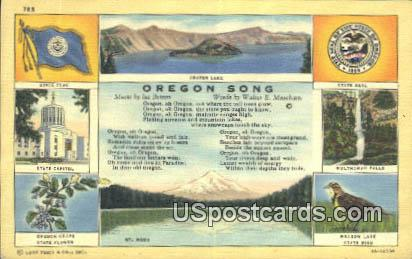 Oregon Song, State Capitol - Crater Lake Postcard