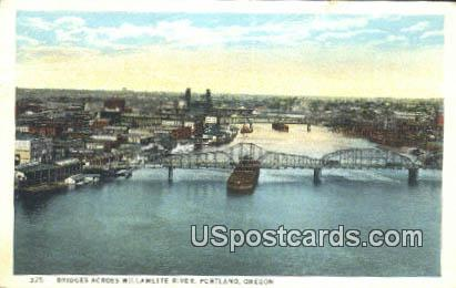Bridges Across Willamette River - Portland, Oregon OR Postcard