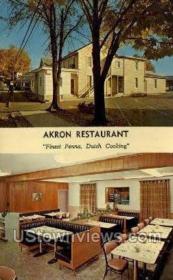 Akron Restaurant - Pennsylvania PA Postcard