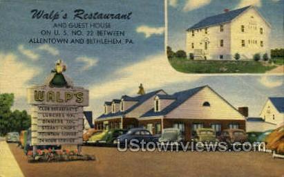 Walp's Restaurant - Allentown, Pennsylvania PA Postcard