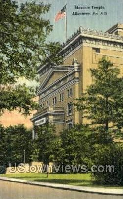 Masonic Temple - Allentown, Pennsylvania PA Postcard
