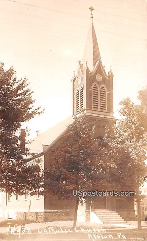 Catholic Church - Albion, Pennsylvania PA Postcard