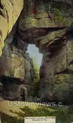 Twin Sister Rocks, Rock City - Bradford, Pennsylvania PA Postcard