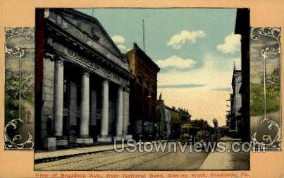 Braddock Ave., National Bank - Pennsylvania PA Postcard