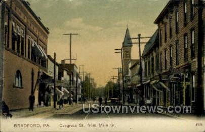 Congress Street - Bradford, Pennsylvania PA Postcard