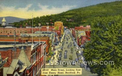 Main Street, Emery Hotel - Bradford, Pennsylvania PA Postcard