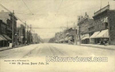 7th Ave. - Beaver Falls, Pennsylvania PA Postcard