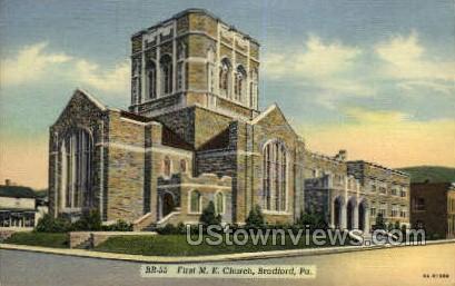 First M.E. Church - Bradford, Pennsylvania PA Postcard