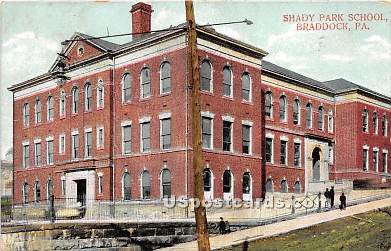 Shady Park School - Braddock, Pennsylvania PA Postcard