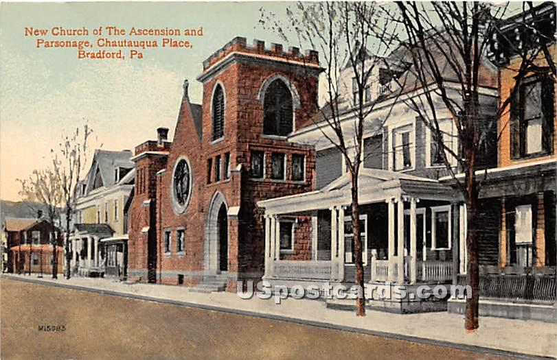 New Church of the Ascension & Parsonage - Bradford, Pennsylvania PA Postcard