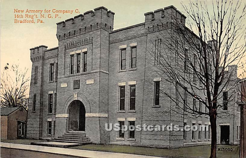 New Armory for Company G, 16th Reg't NGP - Bradford, Pennsylvania PA Postcard