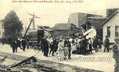 18th 7 French, Flood Aug. 3, 1915 - Erie, Pennsylvania PA Postcard