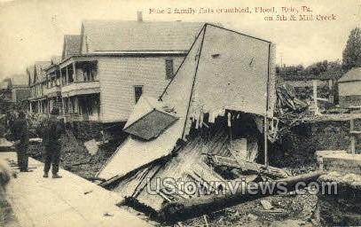 2-Family Flat, Flood Aug. 3, 1915 - Erie, Pennsylvania PA Postcard