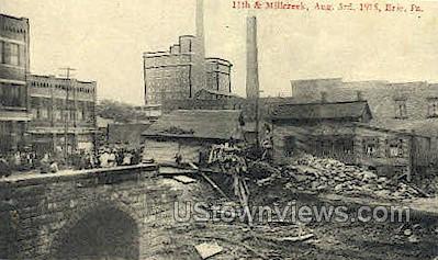 11th & Millcreek, Flood Aug. 3, 1915 - Erie, Pennsylvania PA Postcard