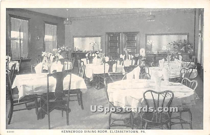 Kennewood Dining Room - Elizabethtown, Pennsylvania PA Postcard