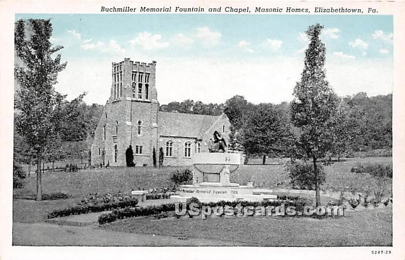 Buchmiller Memorial Fountain & Chapel, Masonic Homes - Elizabethtown, Pennsylvania PA Postcard