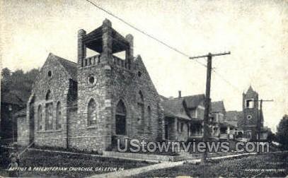 Baptist & Presbyterian Churches - Galeton, Pennsylvania PA Postcard