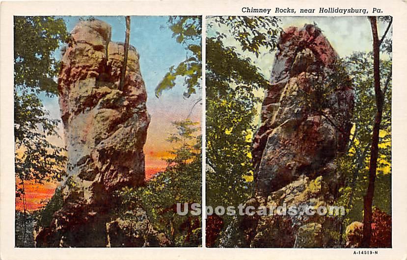Chimney Rocks - Hollidaysburg, Pennsylvania PA Postcard