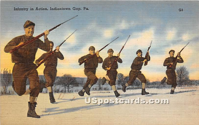 Infantry in Action - Indiantown Gap, Pennsylvania PA Postcard