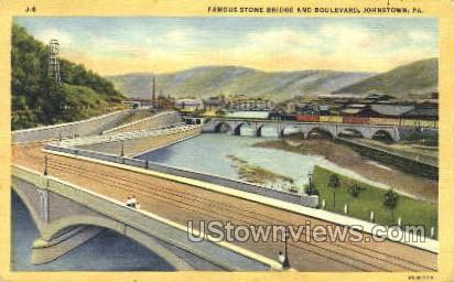 Stone Bridge & Blvd. - Johnstown, Pennsylvania PA Postcard