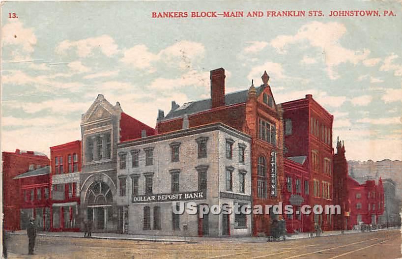 Bankers Block - Johnstown, Pennsylvania PA Postcard