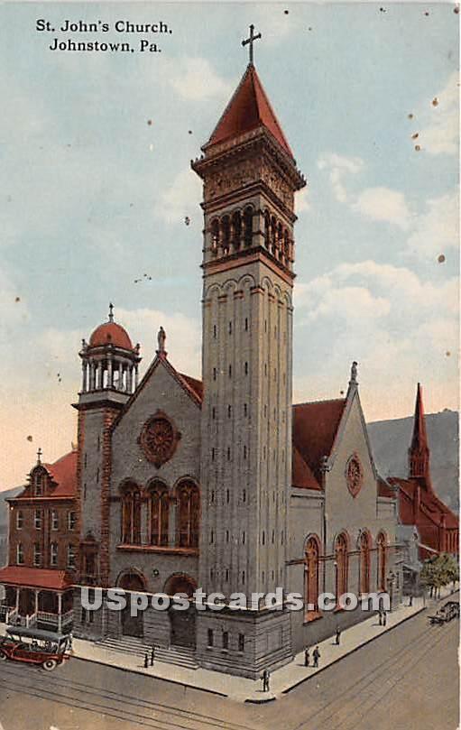 St John's Church - Johnstown, Pennsylvania PA Postcard