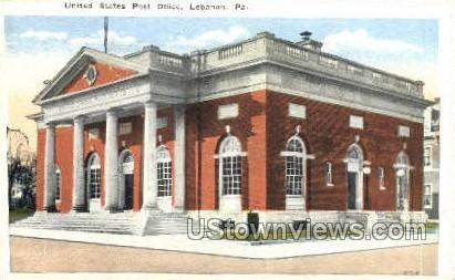 US Post Office, Lebanon - Pennsylvania PA Postcard