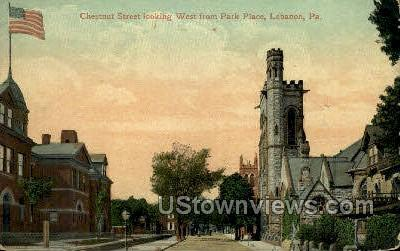 Chestnut Street, Park Place - Lebanon, Pennsylvania PA Postcard
