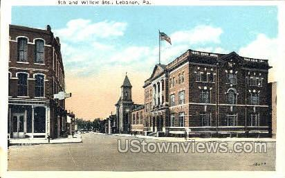 9th & Willow Streets - Lebanon, Pennsylvania PA Postcard