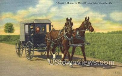 Amish Going to Market - Lancaster, Pennsylvania PA Postcard