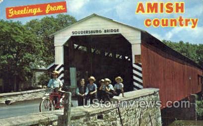 Amish Country, Soudersburg Bridge - Lancaster, Pennsylvania PA Postcard