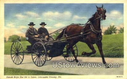 Amish Boys out for a drive - Lancaster, Pennsylvania PA Postcard