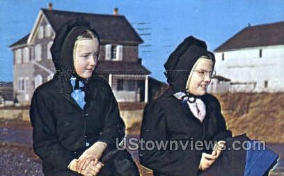 Amish Country, Girls - Lancaster, Pennsylvania PA Postcard