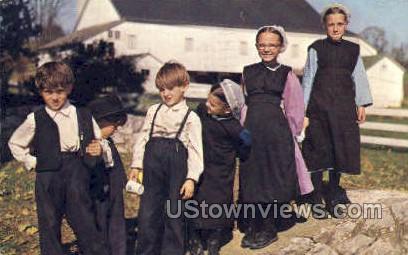 Frolicking Amish Children - Lancaster, Pennsylvania PA Postcard