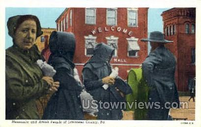 Mennonite & Amish People - Lancaster, Pennsylvania PA Postcard