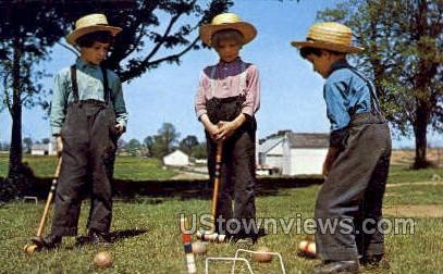 Amish Boys playing Croquet - Lancaster, Pennsylvania PA Postcard