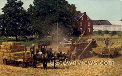 Amish Treshing Scene - Lancaster, Pennsylvania PA Postcard