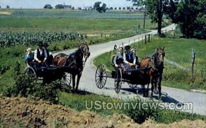 Young Amish Folks - Lancaster, Pennsylvania PA Postcard