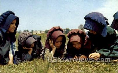 Young Amish Girls - Lancaster, Pennsylvania PA Postcard