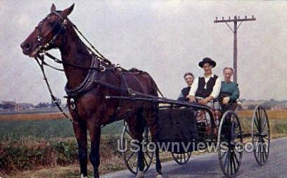 Amish Boy & Girls - Lancaster, Pennsylvania PA Postcard