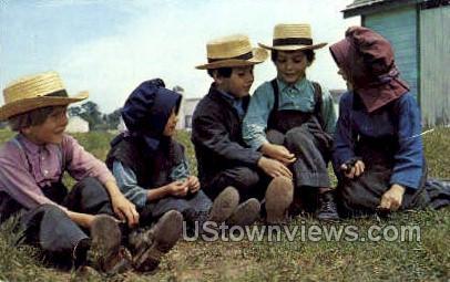 Group of Amish Children - Lancaster, Pennsylvania PA Postcard