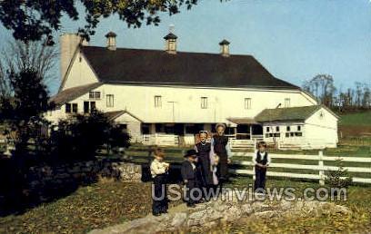 Amish Children & Hex Sign Barn - Lancaster, Pennsylvania PA Postcard