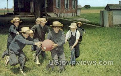 Amish Boys Playing Ball - Lancaster, Pennsylvania PA Postcard