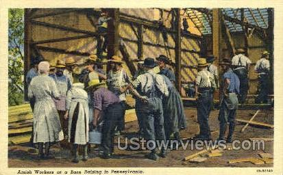 Amish Workers - Lancaster, Pennsylvania PA Postcard