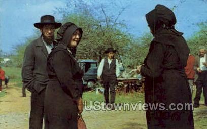 Amish Folk Chatting - Lancaster, Pennsylvania PA Postcard