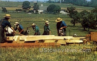 Amish Men Cutting Beams - Lancaster, Pennsylvania PA Postcard
