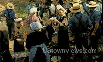 Barn Raising, Amish - Lancaster, Pennsylvania PA Postcard