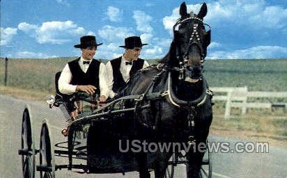Two Amish Boys - Lancaster, Pennsylvania PA Postcard