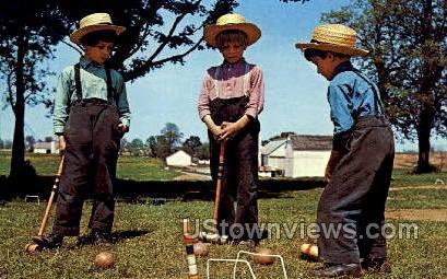 Amish Boys, Croquet - Lancaster, Pennsylvania PA Postcard