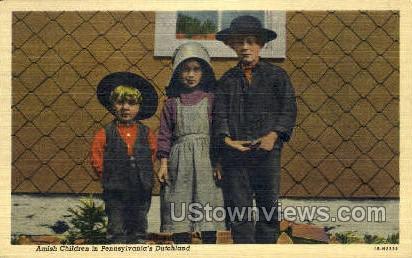 Amish Children, Dutchland - Lancaster, Pennsylvania PA Postcard